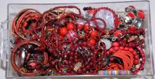 BIN LOT RED TONE COSTUME JEWELRY - Condition: Age appropriate wear; All items sold as is.