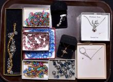 TRAY LOT OF ASSORTED COSTUME JEWELRY - Includes rock crystal, Swarovski, rhinestone and more - Condition: Age appropriate wear; All items sold as is.