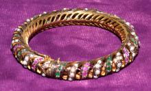 14k GOLD FILLED BANGLE BRACELET - Accented with seed pearls and semi-precious stones - Condition: Age appropriate wear; All items sold as is.