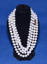 CULTURED PEARL 54'' OPERA LENGTH NECKLACE WITH 14k GOLD CLASP - Condition: Age appropriate wear; All items sold as is.
