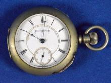 1879 ILLINOISE OPEN FACE POCKET WATCH - Silverine case; SN# 274470 on works; needs cleaned - Condition: Age appropriate wear; All items sold as is.