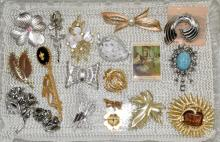 ASSORTED PINS & BROOCHES - Most signed: Cora, Sarah Coventry, Monet, AIG, Pastelli and other - Condition: Age appropriate wear; All items sold as is.