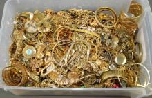 LARGE BIN LOT OF GOLD TONE COSTUME JEWELERY - Approximate weight 30lbs - Condition: Age appropriate wear; All items sold as is.