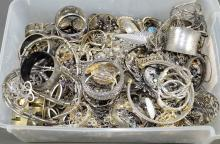 LARGE BIN LOT OF SILVER TONE COSTUME JEWELERY - Approximate weight 27lbs - Condition: Age appropriate wear; All items sold as is.