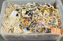 LARGE BIN LOT OF PEARL COSTUME JEWELERY - Approximate weight 25lbs - Condition: Age appropriate wear; All items sold as is.