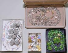ASSORTED ROCK CRYSTAL AND AURORA BOREALIS JEWELRY - Includes earrings, bracelets and necklaces - Condition: Age appropriate wear; All items sold as is.