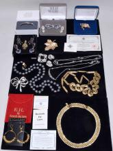 ASSORTED SIGNED COSTUME JEWELRY - Designers include: K.J.L., Pennino, Nolan Miller, Kim Jolly, Avon, Joan Rivers, Bougher and Camroset Kross - Condition: Age appropriate wear; All items sold as is.