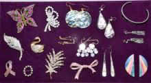 ASSORTED RHINSTONE PINS AND ABALONE JEWELRY BY ALPACA - Condition: Age appropriate wear; All items sold as is.