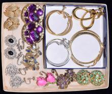 (12) PAIRS OF DESIGNER CLIP-ON EARRINGS - Includes: Coro, Lisner, Napier, ORA, Amway, Two Sisters and BSK - Condition: Age appropriate wear; All items sold as is.