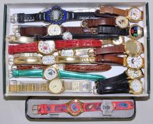 (20) WRIST WATCHES - Includes Lorus Disney, Sergio, Jaz, Embassy and others - Condition: Age appropriate wear; All items sold as is.