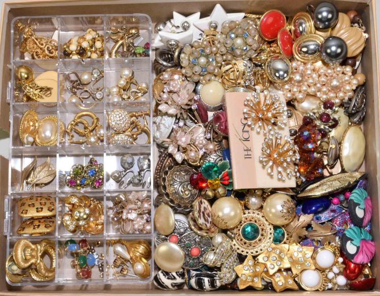 100+ PAIRS OF CLIP-ON EARRINGS - Various styles and colors - Condition: Age appropriate wear; All items sold as is.