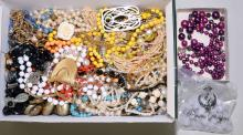 BOX OF ASSORTED BEADED & PEARL COSTUME JEWELRY - Condition: Age appropriate wear; All items sold as is.
