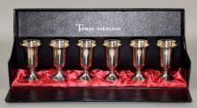 6pc TOWLE STERLING CORDIAL CUP SET IN FITTED BOX - Weighted bases - Condition: Age appropriate wear; All items sold as is.