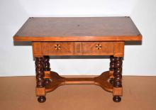 BAKER STATELY HOMES TABLE - Geometric mixed wood inlay compliments all flat surfaces of this one drawer table, resting on barley twist legs; Baker label attached; Retailed by Classiques; Measures: 29''H x 42''W x 28''D; Provenance: From the Estate Collection of Robert B Fay Jr.