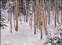 CLYDE ASPEVIG (AMERICAN/MT/CO, b. 1951) - ''Aspens in Winter''; Oil on foam board; Signed lower left ''C. Aspevig '08'', verso ''Aspens in Winter Clyde Aspevig''; Set in gold crackle wood frame; Measures: Visible Art 12''H x 16''W, Frame 15.5''H x 19.5''W; Provenance: Purchased in 2009, From Juniper Ridge Studios, for $9,000; From the Estate Collection of Robert B Fay Jr.