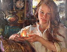 DANIEL GERHARTZ (AMERICAN/WI/IL, b. 1965) - ''Eternal''; Oil on linen; Signed lower left ''Gerhartz''; Set in gold gilt wood frame; Measures: Visible Art 16''H x 20''W, Frame 21''H x 25''W; Provenance: Purchased in 2015 from Cutter & Cutter Inc, for $6,900; From the Estate Collection of Robert B Fay Jr.