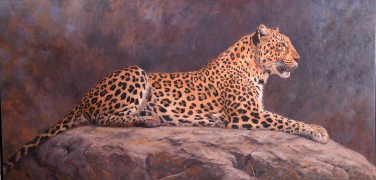 JULIA ROGERS (AMERICAN/MC/DC, b. 1962) - ''Leopard''; Oil on canvas; Signed lower right ''Julia Noffsinger Rogers''; Set in pewter gilt wooden frame; Measures: Visible Art 24''H x 48''W, Frame 34''H x 58''W; Provenance: Purchased in 2011, from Julia Rogers, for $9000; From the Estate Collection of Robert B Fay Jr.