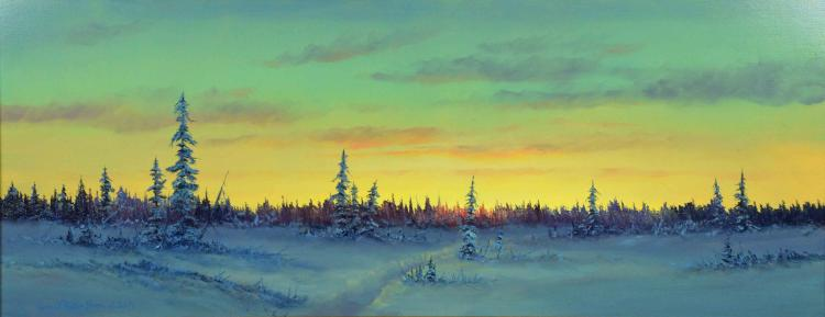 ERNEST ROBERTSON (AMERICAN, b. 1939) - ''Winter Horizon 2001''; Oil on board; Signed lower left ''Ernest Robertson 2001''; Set in gold gilt wood frame; Measures: Visible Art 12''H x 30''W, Frame 18''H x 36''W; Provenance: Purchased in 2002, from Stephan Fine Arts Gallery, for $3,250; From the Estate Collection of Robert B Fay Jr.