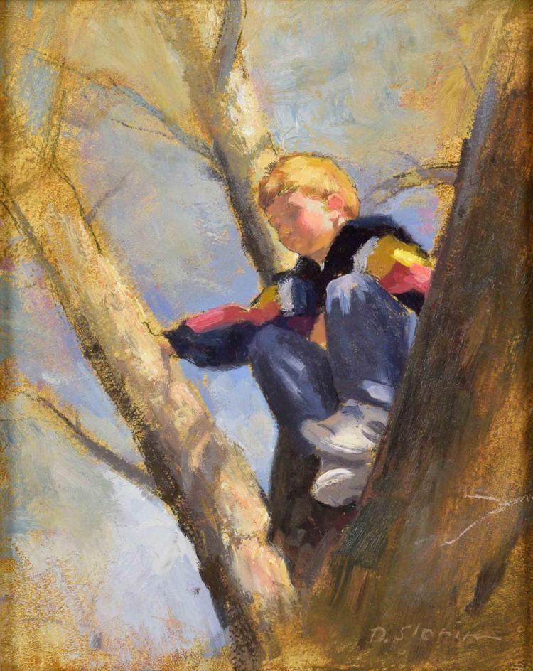 DAVID SLONIM (AMERICAN/IN/FL, b. 1966) - ''Easter Sunday''; Oil on board; Signed ''D. Slonim'', verso ''Easter Sunday, David Slonim 2007''; Set in gold gilt wood frame; Measures: Visible Art 9''H x 7''W, Frame 15''H x 13''W; Provenance:  From the Estate Collection of Robert B Fay Jr.