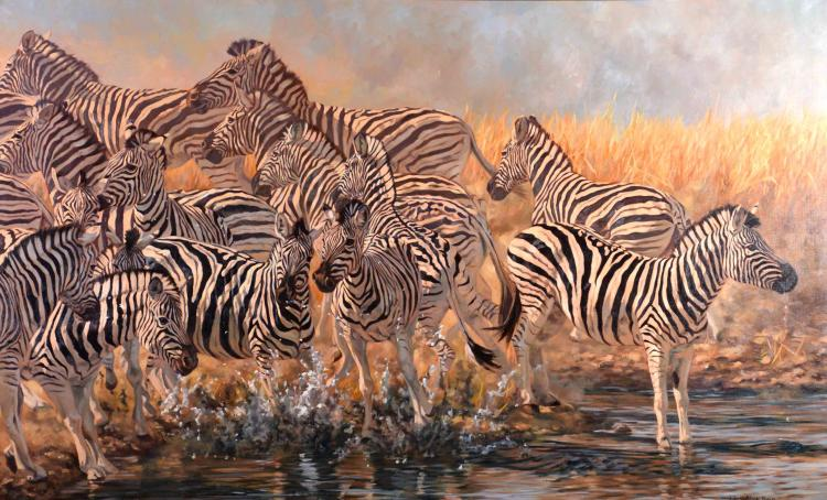 JULIA ROGERS (AMERICAN/MD/DC, b. 1962) - ''False Start - Zebras''; Oil on canvas; Signed lower right ''Julia Noffsinger Rogers''; Set in gold gilt wood frame; Measures: Visible Art 37''H x 60''W, Frame 46''H x 68.5''W; Provenance: Purchased from Julia Rogers, in 2007, for $18,000;  From the Estate Collection of Robert B Fay Jr.