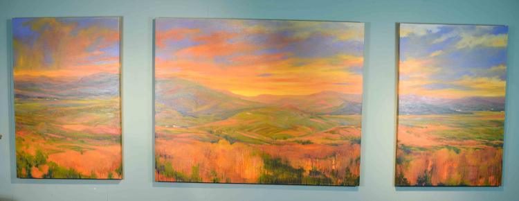 TERUKO T WILDE (AMERICAN/JAPANESE, 20TH CENTURY) - ''Moonrise/Sunset'' Triptych; Oil on canvas; unframed; Measures 96''H x 36''W; Provenance: Consignor purchased directly from the artist in 2006 for $9,000; From the Estate Collection of Robert B Fay Jr.