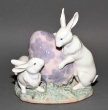LLADRO ''EASTER BUNNIES'' #5902 - 1992; Measures: 6''H x 6''W - Condition: Very good condition; All items sold as is.