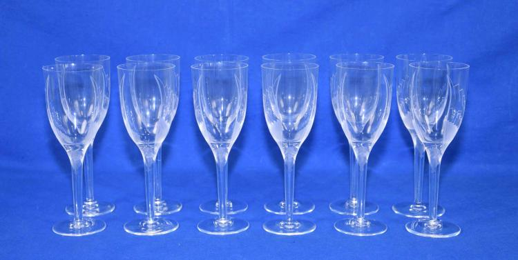 (12) LALIQUE ANGEL CHAMPAGNE FLUTES - Frosted with angel stems; 8'' tall, with etched wings on flute - Condition: Very good condition; All items sold as is.