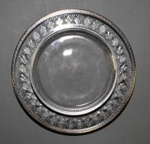 (8) SILVER RIM WHEEL CUT 8'' DESSERT PLATES - Condition: Age appropriate wear; All items sold as is.