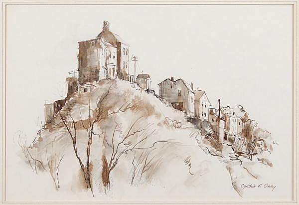 CYNTHIA COOLEY WATERCOLOR. Pittsburgh 20th century artist. Monotone ink drawing, depicting image of hillside homes. Mark: Signed lower right. No visible damage. Dimensions: 9 1/2''x14''.