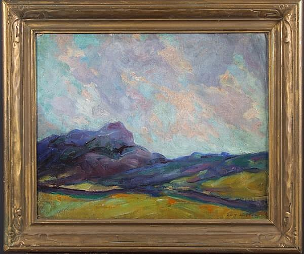 ROY HILTON OIL PAINTING. (1891-1963) Associated Artist of Pittsburgh Member. Oil on canvas-board, Post impressionist style landscape with heavy textured brush work. Mark: Signed lower right Roy Hilton. Damage: Lower right corner loss and minor