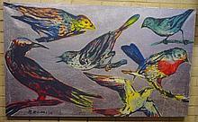 David Bromley (b.1960), acrylic and silver leaf on