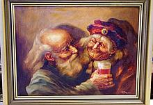 Zolton Feynes (1924-1997) Old Musicians Oil on