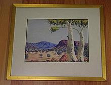 Oscar Namatjira (1922-1991), watercolour outback