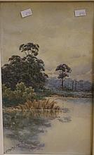 Neville Cayley (1886-1950) Landscape watercolour