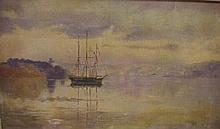 Antique Sydney Harbour oil painting Measures 29 by