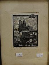 Lionel Lindsay bookplate etching ( 1874-1961) For