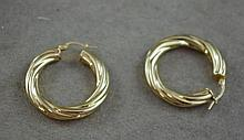 Pair 9ct yellow gold hoop earring approx 3.0 grams
