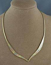 14ct three toned gold necklace approx 12.1 grams