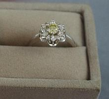 14ct white gold, yellow and white diamond ring