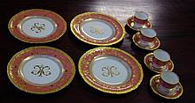 Four Royal Crown Derby coffee cups & saucers with