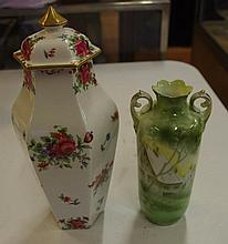 Crown Staffordshire lidded jar together with an RS
