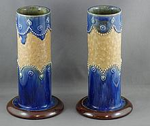 Pair Royal Doulton cylindrical stoneware vase