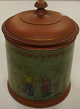 Victorian Watcombe terracotta lidded jar 21 cm