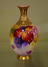Royal Worcester handpainted vase signed K.Blake,