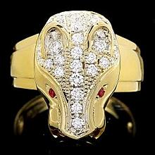 18ct yellow gold, diamond and ruby snake ring 35