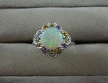 Australian solid opal and multi-gem ring set in