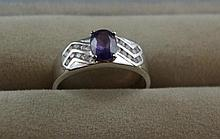 18ct white gold and tanzanite ring Total ring