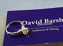 14ct white gold, yellow sapphire ring sapphire