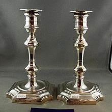 Good pair of sterling silver candlesticks George I