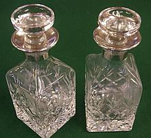 Pair small decanters with sterling silver collars